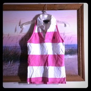 Ralph Lauren Pink & White striped top- Small